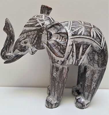 Wood elephant statue ornament hand carved lucky Bali Balinese brown wash 16cm
