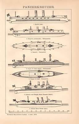 Armoured Cruiser types Europe USA Russia Engraving 1892 old historical print