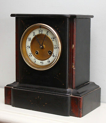 A Good Antique Victorian Slate & Serpentine Chiming Clock, Silvered Bell Strike