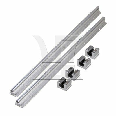 6x SBR10 Linear Bearing Rail 50cm and Open CNC Linear Bearing Slide Silver