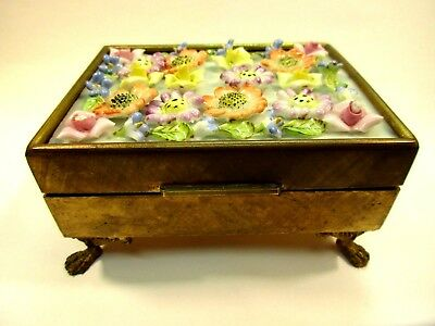 Hand Painted Porcelain Applied Flowers Gilt Ormolu Paw Footed Dresser Box
