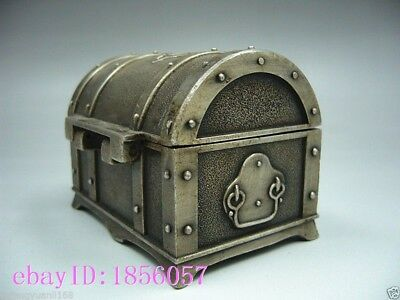Collectibles Old Decorated Handwork Miao Silver Carving Jewelry box NR
