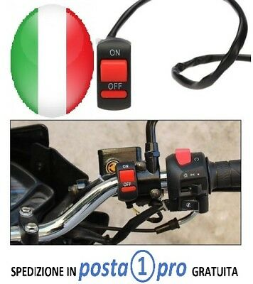 Switch INTERRUTTORE TASTO MOTO ON OFF 2 FILI SCOOTER FRECCE LUCI FARI UNIVERSALE