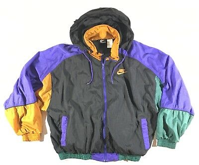 RARE VINTAGE 90s NIKE CHAMPS EXC COLORBLOCK PURPLE GOLD HOODED WINDBREAKER  LARGE b286f717c1aa