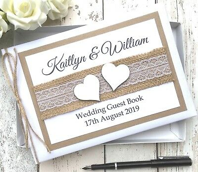 Personalised Wedding Guest Book ~Rustic White Wood Hearts ~Vintage Hessian Lace