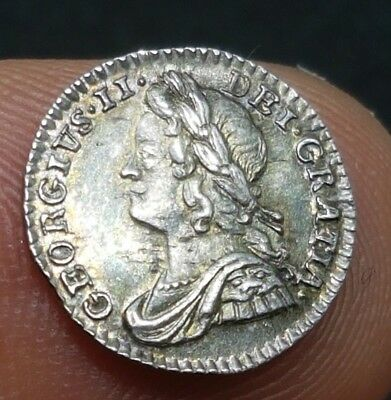 1750 GEORGE II SILVER 1d MAUNDY PENNY COIN EF+