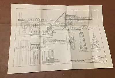 1912 Panama Canal Sketch Diagram Showing Concrete Handling Plant Miraflores Lock