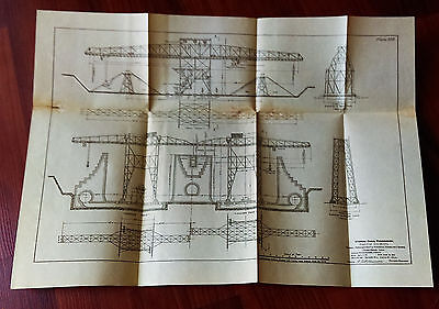 1910 Panama Canal Engineering Sketch Diagram Material Cranes Pedro Miguel Lock