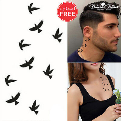 Black Swallows Temporary Tattoo, Birds, Finger, Ear, Neck, Mens, Womens, Kids