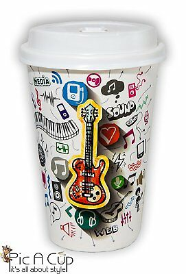 50 Ct Disposable Coffee Tea Cups 12 oz with Lids Guitar Musical Design