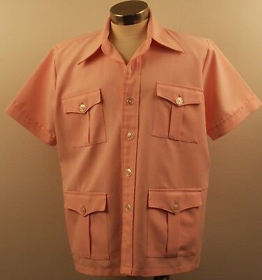 X LARGE ORIGINAL 1970s VINTAGE PINK SAFRI SHIRT. TAILOR MADE.