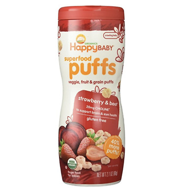 Happy Baby Organic Puffs, Strawberry, 2.1 Ounce, Expires 02/24/2019