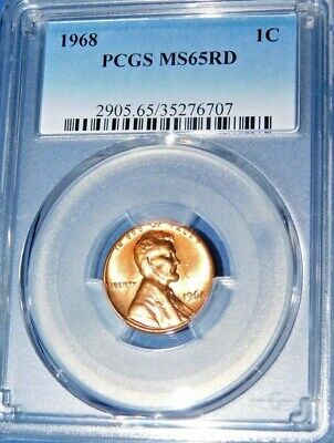 1968 1C RD Lincoln Cent-PCGS MS65RD--378-1