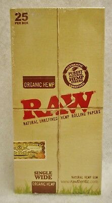 "25 PKS - RAW SINGLE WIDE NEW ""ORGANIC HEMP"" Cigarette Rolling Papers 2500 sheets"