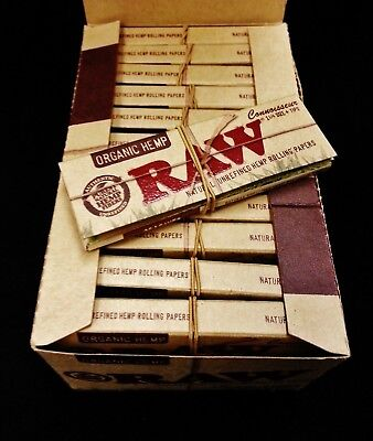 Full Box Raw Organic Hemp Connoisseur 1 1/4 Rolling Papers + Tips Free Shipping