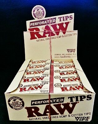 Full Box RAW Wide Perforated Natural Unrefined Hemp & Cotton Tips (2500 Total)