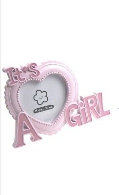 Pink Heart Its a Girl Photo Frame New Baby Nursery Christening Baby Shower Gift