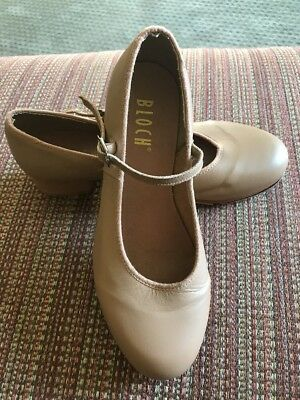 Bloch Women' Nude Tan Beige Techno Tap Shoes Mary Jane Leather Size 8