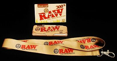 1X Raw Natural Unrefined Organic Hemp 300's Rolling Papers Lanyard & 1 1/4 Tin
