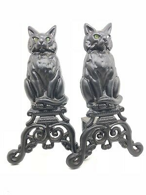 Gothic ~Cast Iron~ Cat Fireplace Andirons ~GREEN MARBLE EYES~ GLOW IN THE FIRE