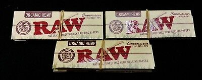 3 Packs Raw Organic Hemp Connoisseur 1 1/4 Rolling Papers + Tips Free Shipping