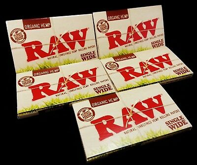 """5 Packs - RAW SINGLE WIDE """"ORGANIC HEMP"""" Cigarette Rolling Papers 500 Sheets"""