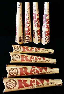 8 Packs RAW Classic Prerolled Natural Gum Hemp Cones 1 1/4 Size (48 Total)