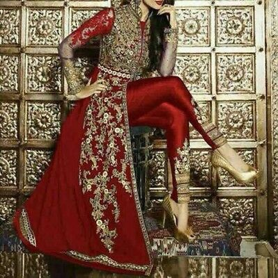 "Indian Bollywood Anarkali Dress For Wedding Party EID Fully Stitched XXL 44"" Red"