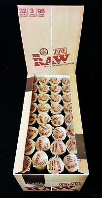 Full Box Raw King Size Natural Gum Hemp Prerolled Rolling Paper Cones (96 Total)