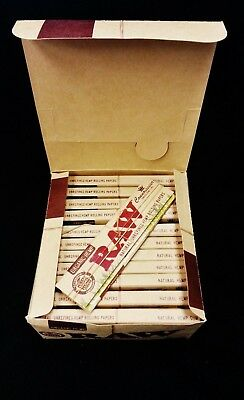Full Box Raw Organic Hemp Connoisseur King Size Slim Rolling Papers + Tips