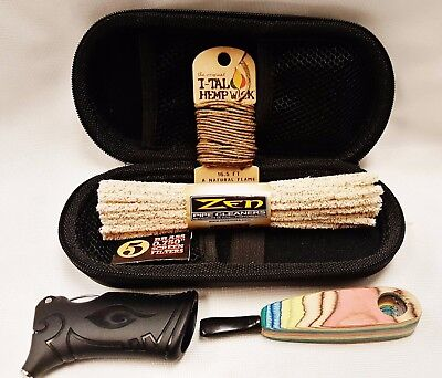 Handcrafted Wooden Pipe Bundle Case Cleaners Screens Hemp Wick Toker Poker More