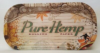 """New Pure Hemp Rolling Papers Tray 8""""x4"""" Metal Tray Free Shipping"""