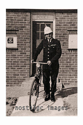 Photo Taken From A 1933 Image Of A Brighton Police Officer With Bike Near Box