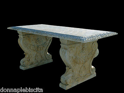 Table Travertine with Sculptures Furniture External OLD Antique Interior Design