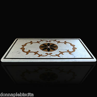 Table Inlaid Intarsi in Marble Pietra Dura Marble InLay Table CLASSIC DESIGN