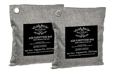 Charcoal Bag 100% Natural Odor Absorber Air Purifying Dehumididier 2 Pack - 200g