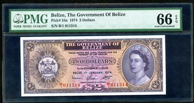 1974 BELIZE THE GOERNMENT OF 2 DOLLARS PCK #34a  PMG 66 PLEASE LQQK!*