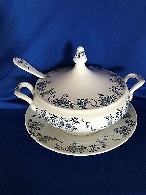 Laveno 1856 Italy Porcelain Blue Floral  Tureen, With Lid,ladel & Underplate