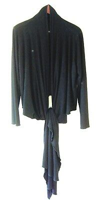 Black Jacket Drape Long Cardigan Bias Cut Jersey Long Sleeves VERSATILE Sz 2X