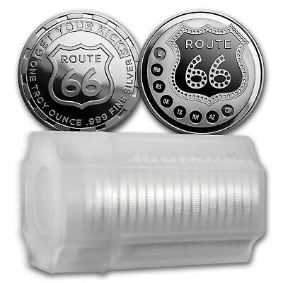 1 oz Silver Round - Get Your Kicks on Route 66 (Lot of 20)