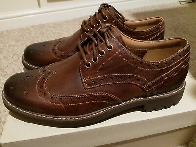 631ea4a380bf8 CLARKS MONTACUTE WING Lace-Ups Mens - Dark Tan Leather - NEW ...