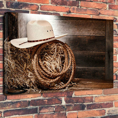 """Wild West Cowboy Hat & Rope American Printed Canvas Picture A1.30""""x20"""" 30mm Deep"""