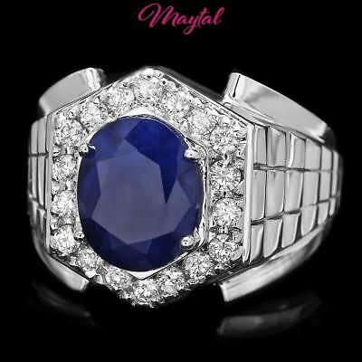 925 Sterling Silver 5Ct Vivid Royal Blue Ceylon Sapphire Topaz Mens Ring