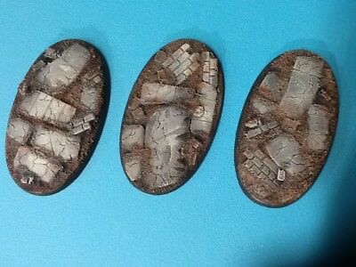 Unpainted 3 x Oval Bases 75x 42mm 40K Age of Sigma Ruined City jetbike