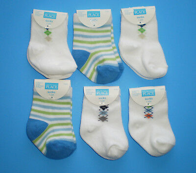 NEW Lot 6 Pairs of Baby Boy 0-3 0-6 Month Socks Argyle Striped White Blue Green