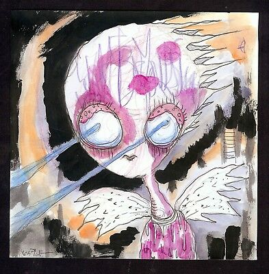 ORIGINAL art GUS FINK painting outsider lowbrow abstract LAZER EYED DEMON GIRL