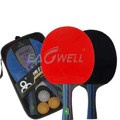 2 PCS Professional Table Tennis Ping Pong Racket Paddle Bat + 3 Balls Bag Sets