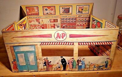 Vintage A&P Cardboard Grocery Store playset doll market toy promotional