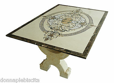 Table with Intarsi in Marble Cream Marfil and Pietra Dura Art Inlay Marble Table