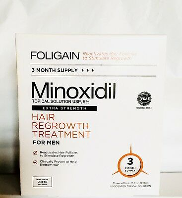 FOLIGAIN Minoxidil 5% Extra Strength Hair Regrowth Treatment For Men-3 Mos. Rare